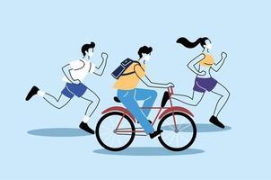 människor som gör fysisk aktivitet, hälsosam livsstil och kondition vektor