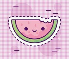 skiva färsk och utsökt vattenmelon, kawaii-stil vektor