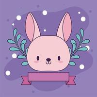 söt kawaii baby kanin med blommor vektor