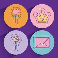 hjärta blomma stjärna pinne krona och kärlek kort vektor design