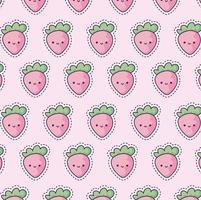 mönster med jordgubbar, lappstil vektor