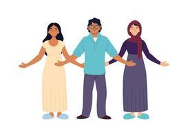 indiska muslimska kvinnor och man tecknade vektor design