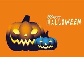 Halloween blå och orange pumpor karikatyrer vektor design