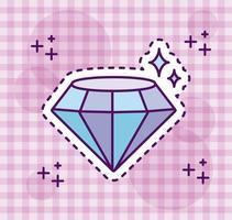 glänzender Diamant im Aufkleberstil vektor