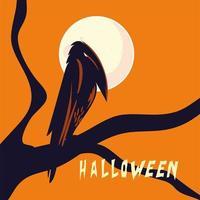 Halloween-Rabenkarikatur auf Baumvektorentwurf vektor