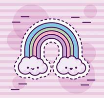 söt regnbåge med moln kawaii stil vektor