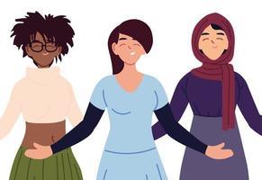 svarta, muslimska och vita kvinnors tecknad filmvektordesign vektor