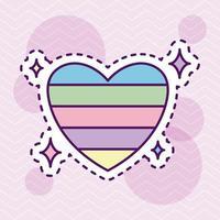 söt och färgglad hjärta, lappstil vektor