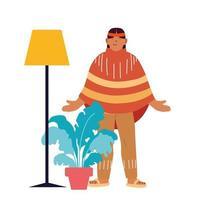 usa indischer Mannkarikatur mit Lampen- und Pflanzenvektorentwurf vektor