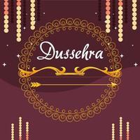 Goldbogen mit Pfeil vor Mandala-Verzierung des glücklichen Dussehra-Vektorentwurfs vektor