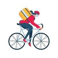Lieferfrau mit einer Schutzmaske auf einer Fahrradlieferung