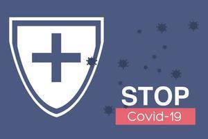 stopp covid 19, medicinsk sköld som stoppar virusceller vektor