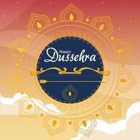 Goldbogen mit Pfeil vor blauem Mandala-Ornament des glücklichen Dussehra-Vektorentwurfs vektor