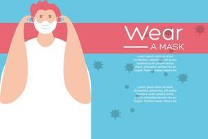 man i skyddande medicinsk ansiktsmask, bära en mask vektor