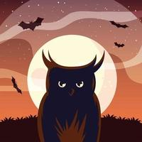 halloween uggla tecknad framför månen vektor design