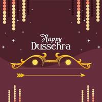 Goldbogen mit Pfeil mit Sternen auf lila Hintergrund des glücklichen Dussehra Vektorentwurfs vektor