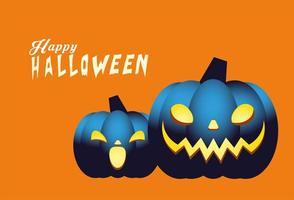 Halloween blaue Kürbisse Cartoons Vektor-Design vektor