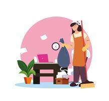 junge Frau, die im Reinigungsdienst zu Hause arbeitet vektor
