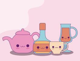 kawaii vattenkokare flaska mugg och kopp vektor design