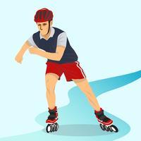 Man Spelar Rollerblade Vektor Illustration