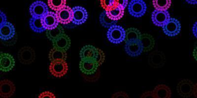 dunkler mehrfarbiger Vektorhintergrund mit Virensymbolen. vektor