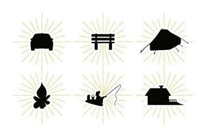 Landruhe Symbole mit Freizeit Silhouetten gesetzt vektor