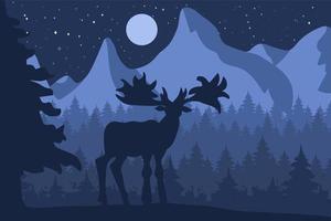 älg i barrskogen på natten vektor