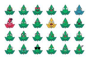 gröna växter ansiktsuttryck ikoner set vektor