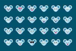 Emoji Spaß niedlichen Tier Maus Lächeln Emotionen gesetzt vektor