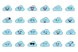 niedliche Wolkenaufkleber umreißen Illustrationssatz vektor