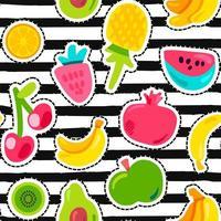 exotische Früchte auf Streifen nahtloses Muster vektor
