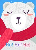 Karikaturweihnachtsgrußkarte mit Bärencharakter