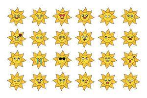 söta solen klistermärken disposition illustrationer set vektor