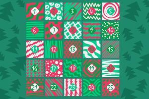 flache Vektorillustration des festlichen Adventskalenders im Dezember vektor