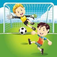 Kinder spielen Fußball im Freien