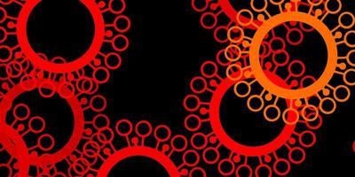 dunkeloranger Vektorhintergrund mit covid-19 Symbolen.