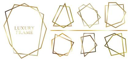 uppsättning moderna glänsande gyllene månghörniga former vektor