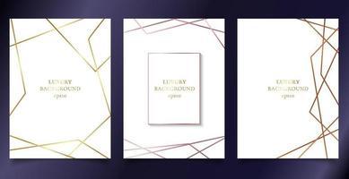 uppsättning mall bröllop inbjudningskort med gyllene vektor