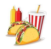 tacos med kött och grönsaker, taco mexico mat vektorillustration.