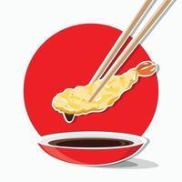 ätpinnar med räkor tempura, vektor ätpinnar som håller räkor tempura