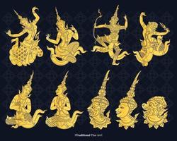 Linienvektor traditionelle Thailand-Kunst, Vektorillustration vektor