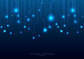 abstrakt teknik futuristiska konceptlinje och nod på blå bakgrund vektor