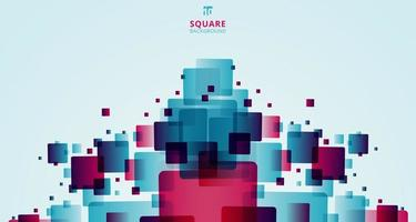abstrakte moderne Technologie futuristische Quadrate geometrische blaue und rosa Musterüberlagerung auf weißem Hintergrund vektor