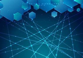 abstrakt blå bakgrund geometrisk hexagon överlappande med laserlinje och gnistrande belysning vektor