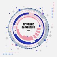 abstrakt teknik futuristiska blå och rosa växlar cirklar med geometriska element på vit bakgrund. vektor