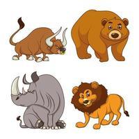 grupp av fyra djur komiska seriefigurer vektor