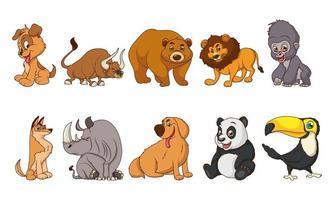 grupp på tio djur komiska seriefigurer vektor