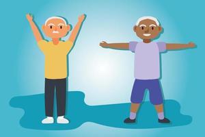 interracial gamla män par tränar, aktiva seniorer karaktärer vektor
