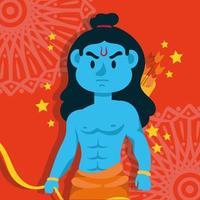 lycklig dussehra firande med lord rama blue karaktär vektor