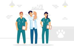 Charaktere des veterinärmedizinischen Personals vektor